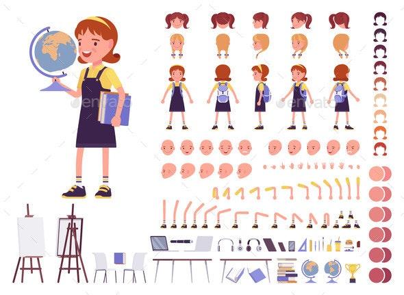 School Girl in Casual Wear Construction Set - Miscellaneous Vectors