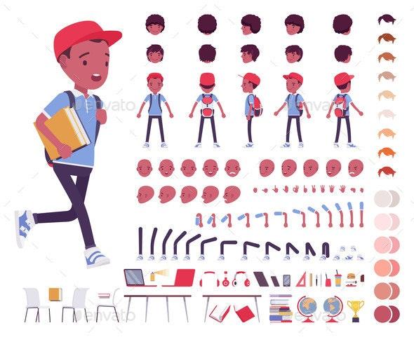Black School Boy in a Casual Wear Construction Set - Miscellaneous Vectors
