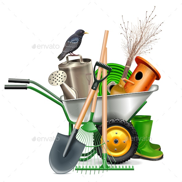 Vector Spring Concept with Garden Tools - Flowers & Plants Nature