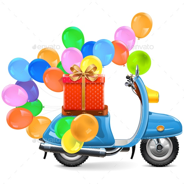 Vector Scooter with Balloons and Gift - Birthdays Seasons/Holidays