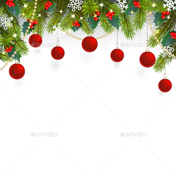 Vector Christmas Top Decoration with Red Berries - Christmas Seasons/Holidays