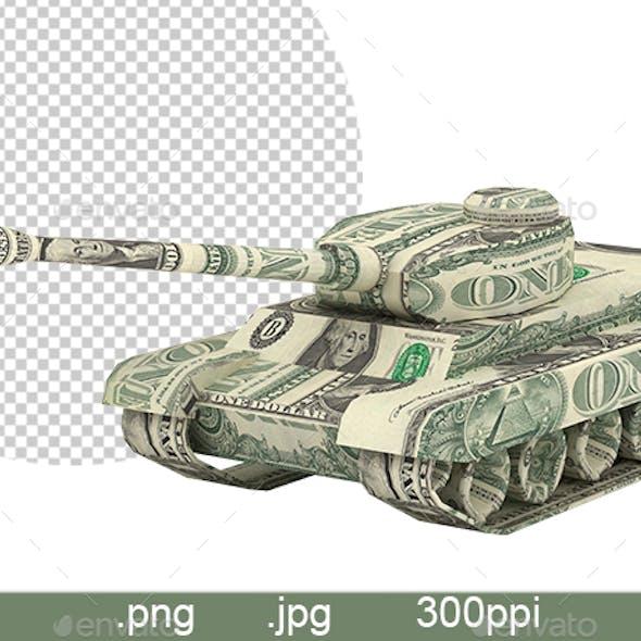 Dollar Tank. Money Origami. Tank made from American One dollar bill. War Relation Concept