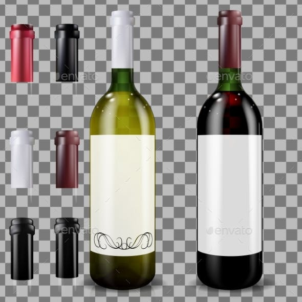 Red and White Wine Bottles. Set of Caps or Sleeves