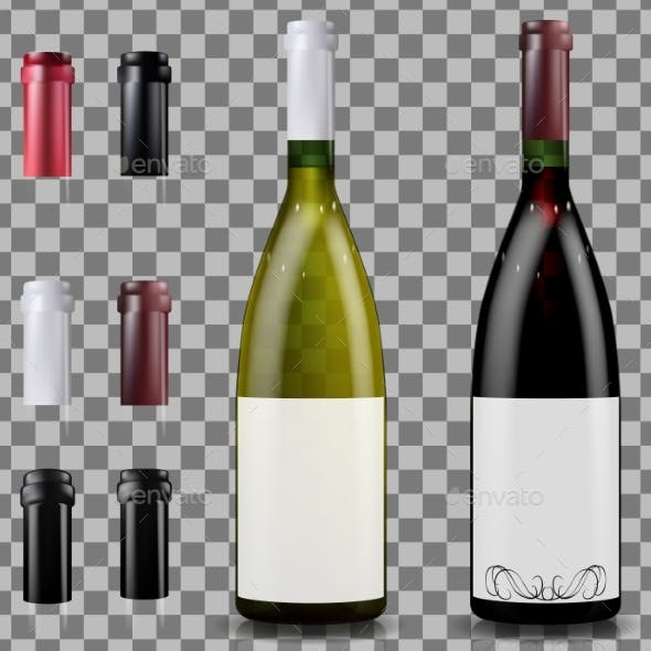 Red and White Wine Bottles. Caps or Sleeves