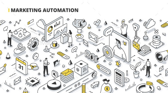 Marketing Automation Isometric Outline Illustration - Communications Technology