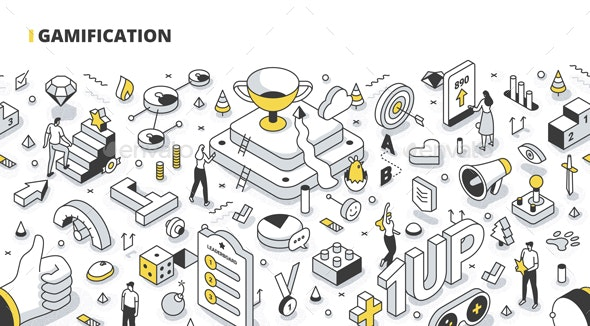 Gamification Isometric Outline Illustration - Technology Conceptual
