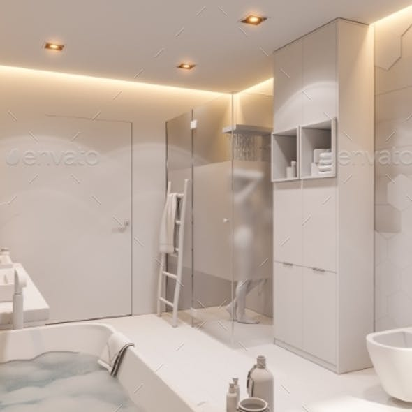 3d Illustration of a Bathroom in a Private House