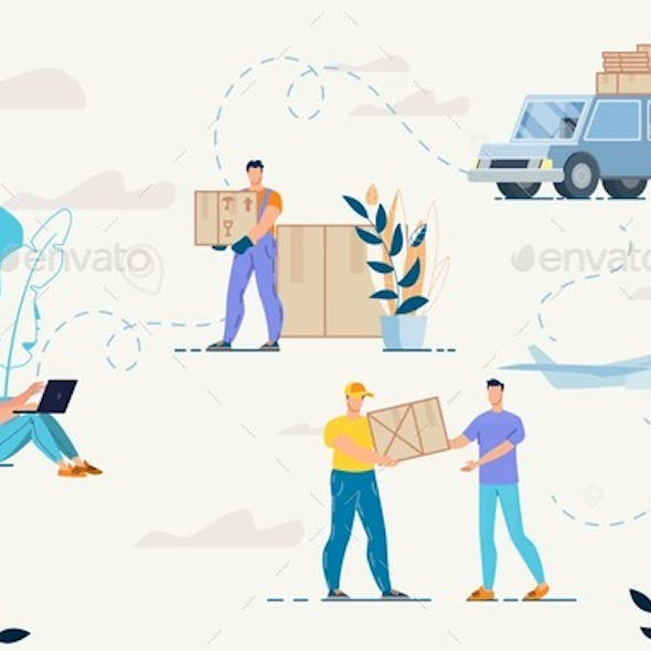 Shopping Online and Goods Delivery Service Set