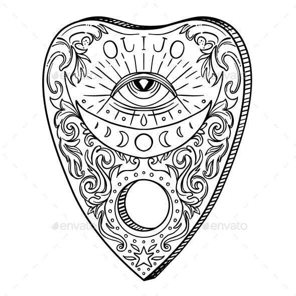 Heart-Shaped Planchette for Spirit Talking Board