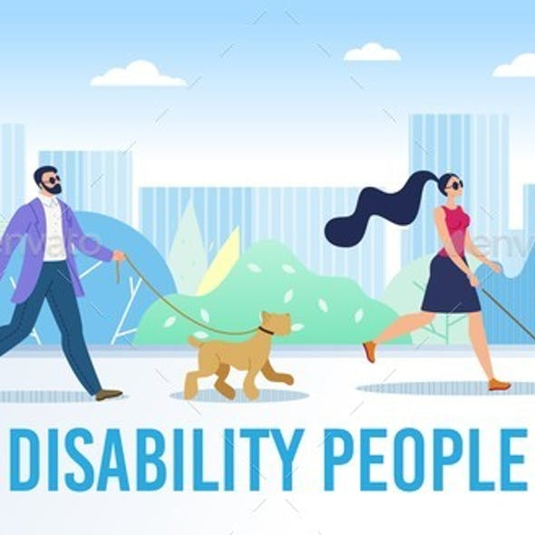 Disabled People Daily Life Flat Vector Banner