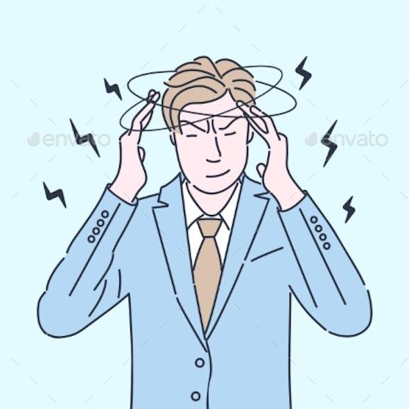 Tired Businessman Flat Color Illustration. Man