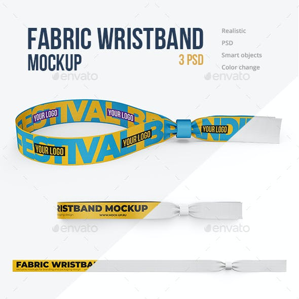 Fabric Wristband Mockup 3 PSD