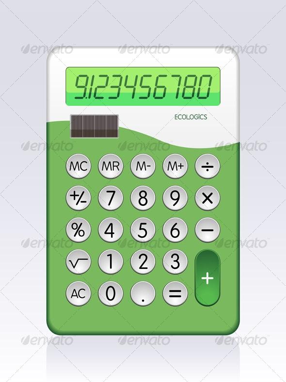 Green Solar Powered Calculator - Technology Conceptual