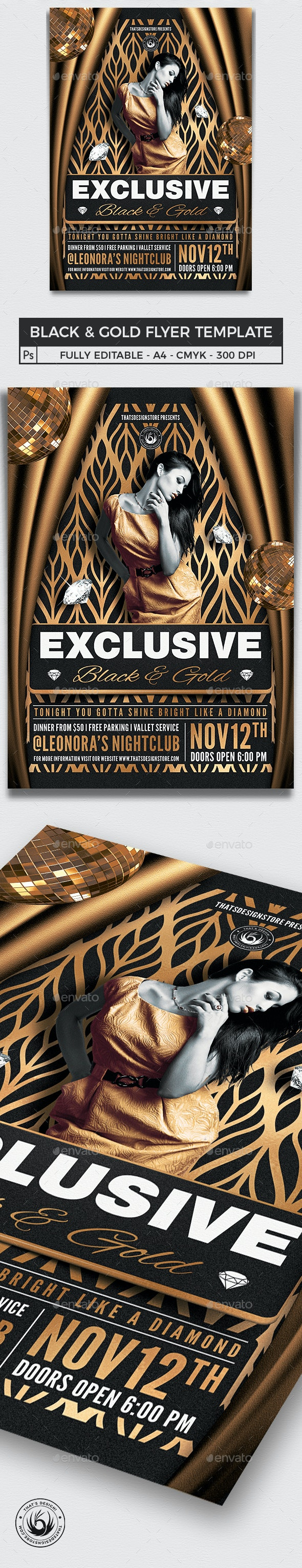 Black and Gold Flyer Template V19 - Clubs & Parties Events
