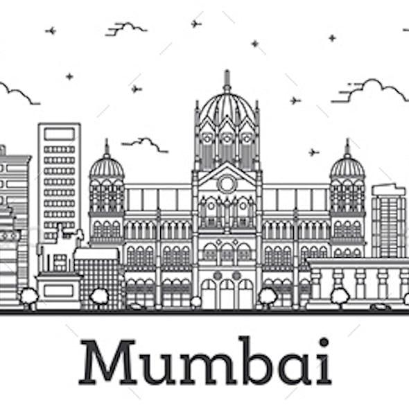 Outline Mumbai India City Skyline with Historic Buildings