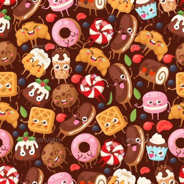 Bakery Seamless Pattern with Funny Cartoon