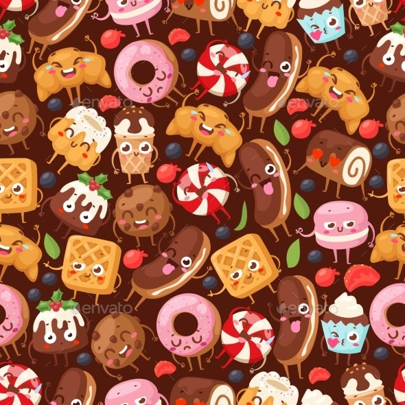Bakery Seamless Pattern with Funny Cartoon - Food Objects