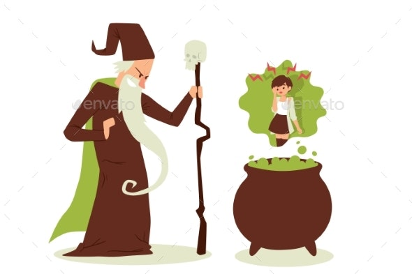 Evil Sorcerer Cast Spell on Woman - Miscellaneous Vectors