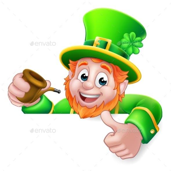 Leprechaun St Patricks Day Cartoon Pipe Sign