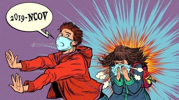 Panic The Young Man Is Afraid of a Sneezing Sick - Health/Medicine Conceptual
