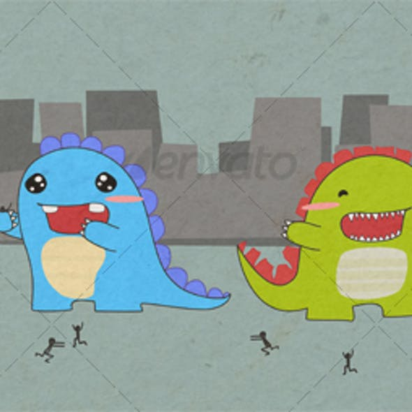 cute cuddely monster dinosaur creatures!