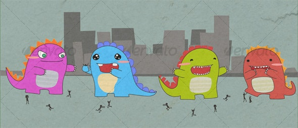 cute cuddely monster dinosaur creatures! - Monsters Characters