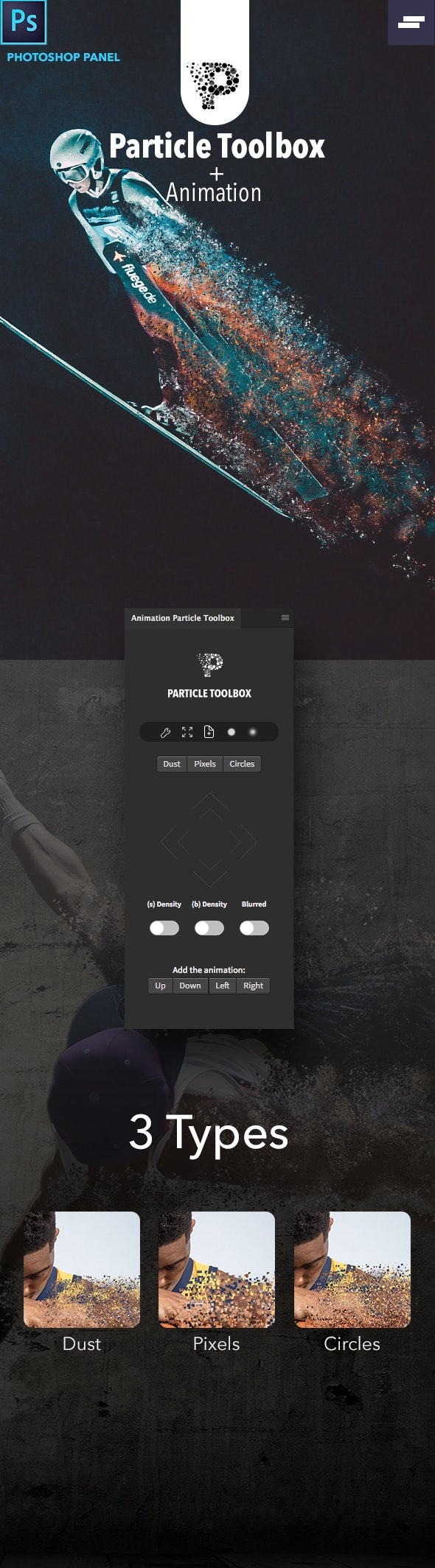 Animation Particle Toolbox Photoshop Panel - Utilities Actions