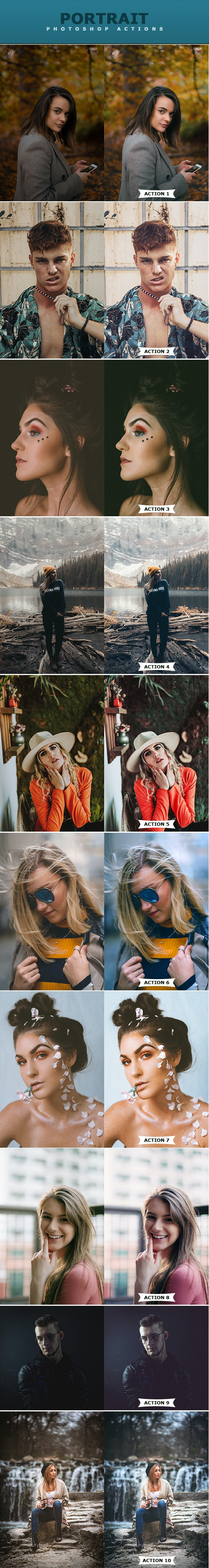 PS动作-人像皮肤修饰磨皮美白效果 Portrait Photoshop Actions插图2