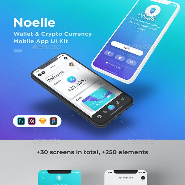 Noelle Mobile - Wallet & Crypto Currency Trading App UI Kit