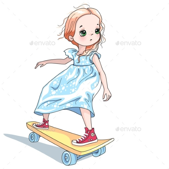 Vector Baby Girl Skateboarder - People Characters