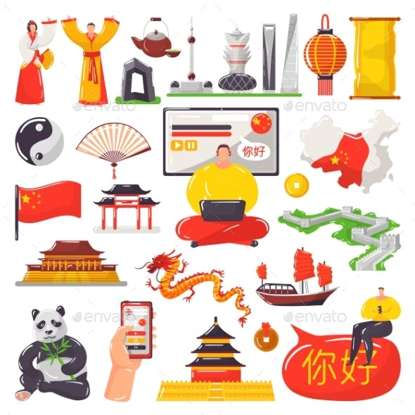 Learning Chinese and Tourism in China Vector