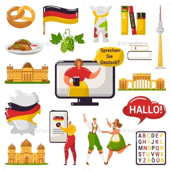German Learning and Education or Tourism Travel