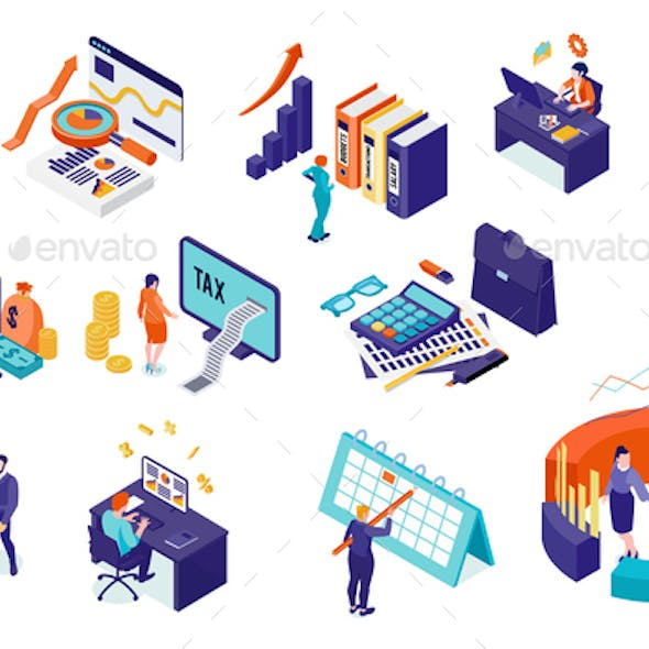 Accounting And Audit Isometric Set