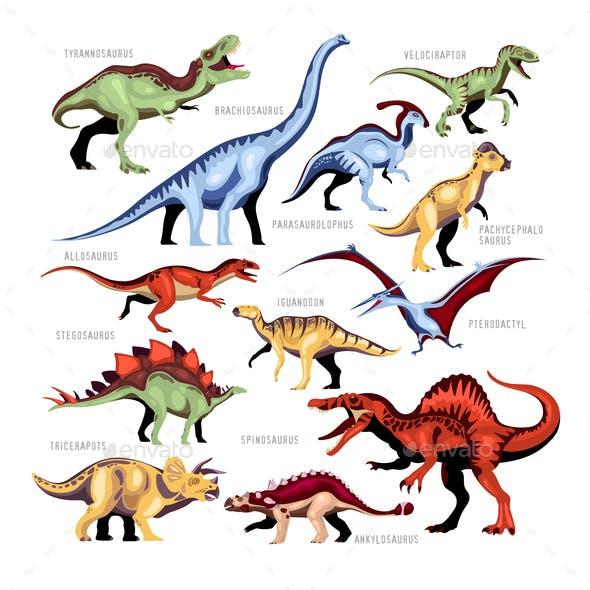 Dinosaur Color Cartoon Set