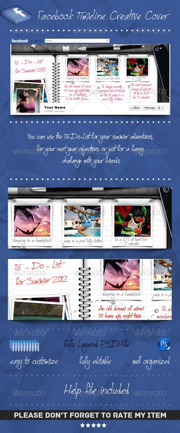 Facebook Timeline Cover - To Do List Agenda - Social Media Web Elements