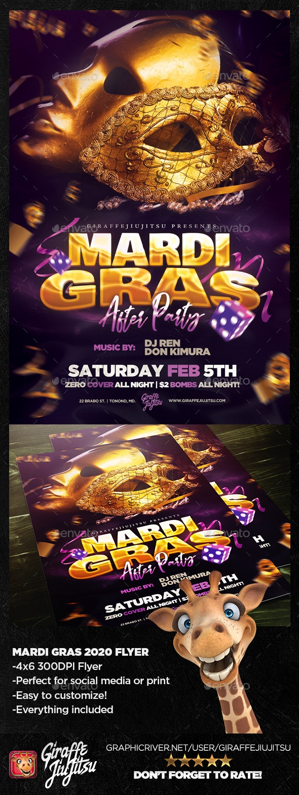 Mardi Gras After Party Flyer Template - Holiday Greeting Cards