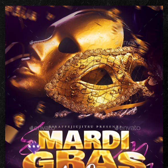 Mardi Gras After Party Flyer Template