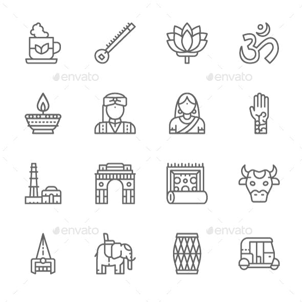 Set Of Indian Culture Line Icons. Pack Of 64x64 Pixel Icons
