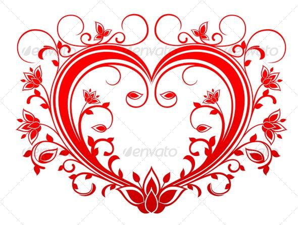 Red valentine heart - Flourishes / Swirls Decorative