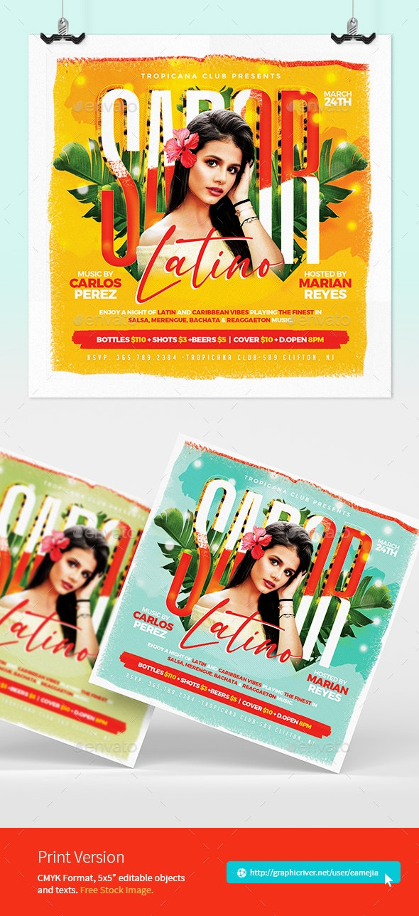 Sabor Latino - Latin Party Flyer - Clubs & Parties Events