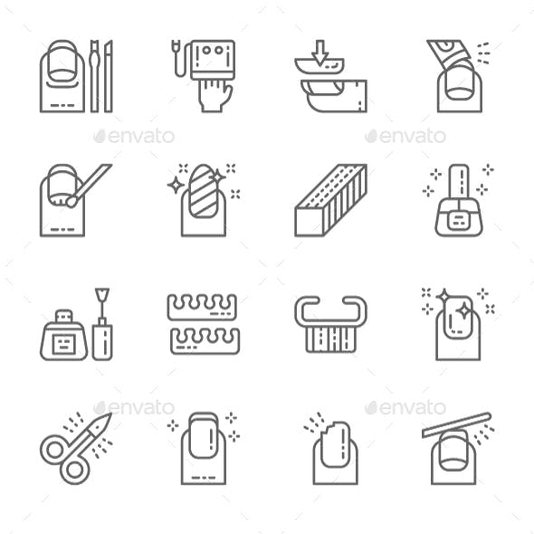 Set Of Nail Salon Line Icons. Pack Of 64x64 Pixel Icons