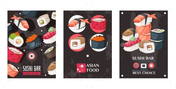 Sushi Bar Advertisement Banners, Vector - Food Objects