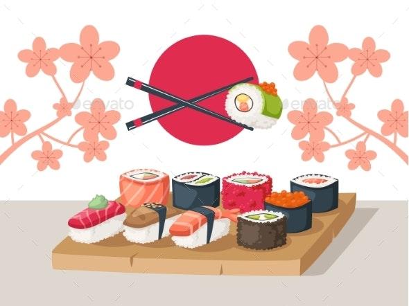 Sushi Restaurant Serving, Vector Illustration - Food Objects