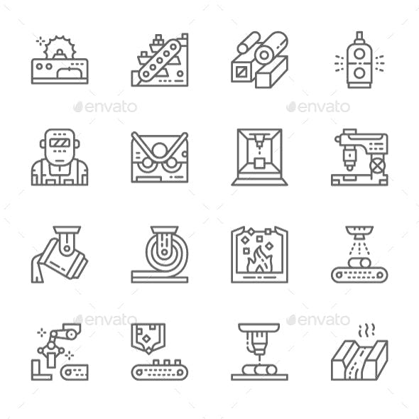 Set Of Metallurgy Industry Line Icons. Pack Of 64x64 Pixel Icons