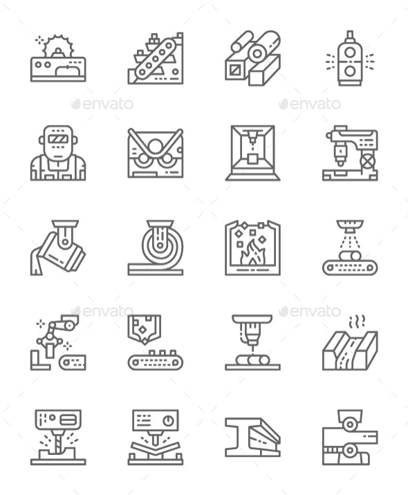 Set Of Metallurgy Industry Line Icons. Pack Of 64x64 Pixel Icons - Technology Icons