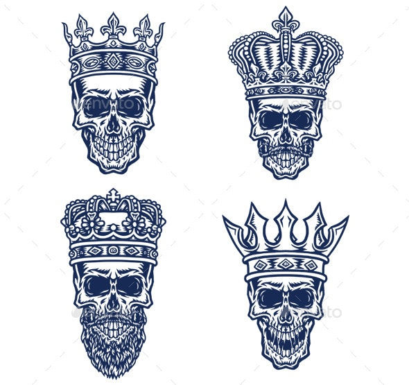 Set of Skull with King Crown - Miscellaneous Characters