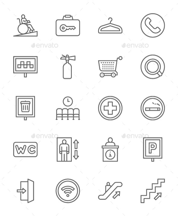 Set Of Public Navigation Line Icons. Pack Of 64x64 Pixel Icons - Objects Icons