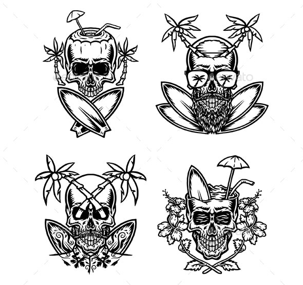 Set of Skull Summer Beach - Miscellaneous Characters