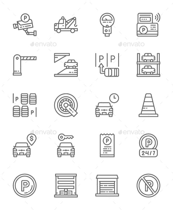 Set Of Car Parking Line Icons. Pack Of 64x64 Pixel Icons - Objects Icons