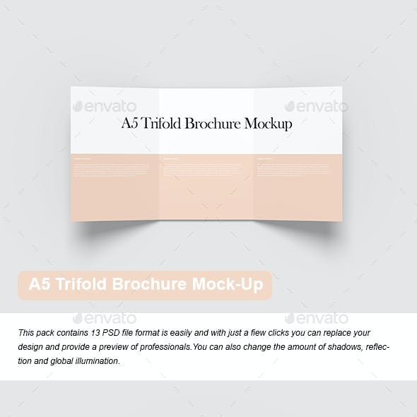 A5 Trifold Brochure Mock-Up